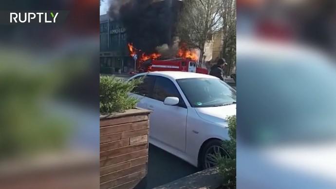 Момент взрыва в бишкекском кафе — видео