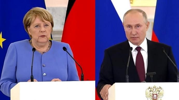 Навальный, Украина, Афганистан: Путин и Меркель ОТВЕТИЛИ на вопросы журналистов!
