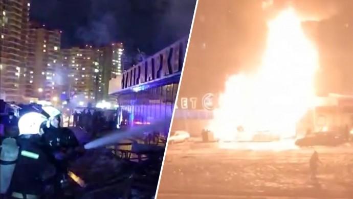 Момент взрыва газового баллона на рынке в Краснодаре — видео