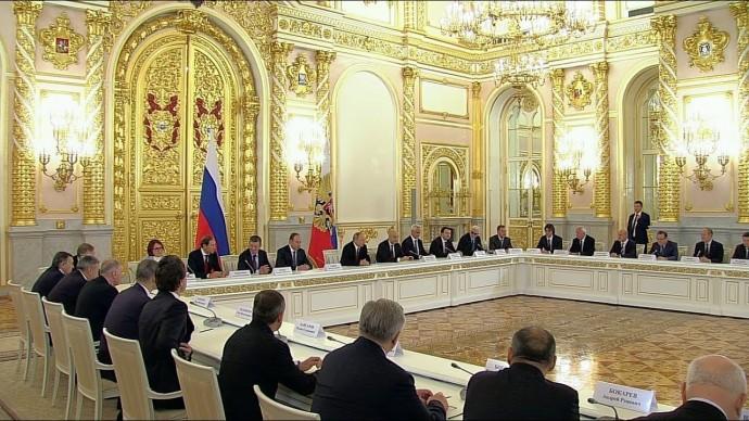 Владимир Путин в Кремле встретился с представителями российского бизнеса