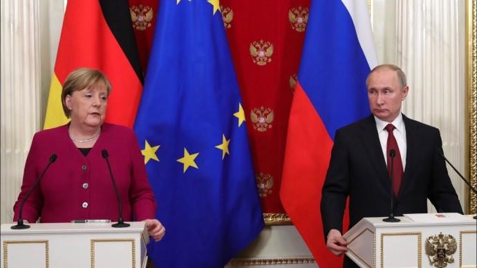 """О """"Северном потоке — 2"""" и кризисе на Ближнем Востоке. Путин и Меркель провели переговоры в Кремле"""