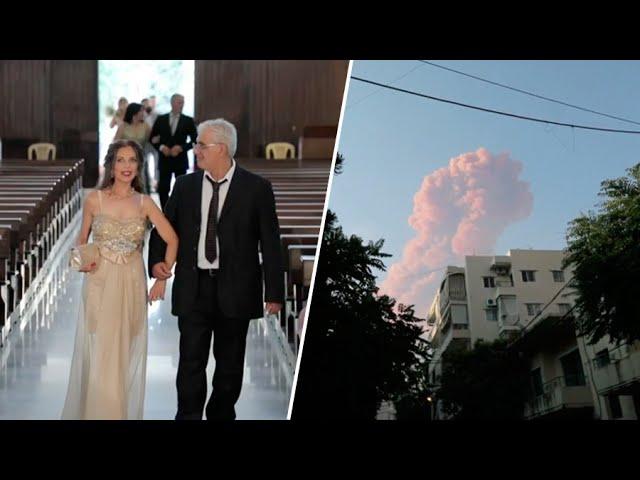 В 17 км от эпицентра: на свадебной церемонии засняли ударную волну от взрыва в Бейруте